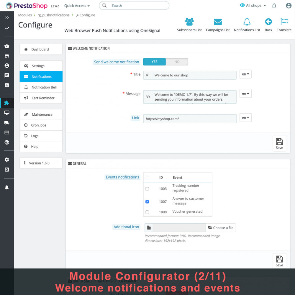module - Remarketing & Paniers Abandonnés - Notifications Push du Navigateur Web avec OneSignal - 5