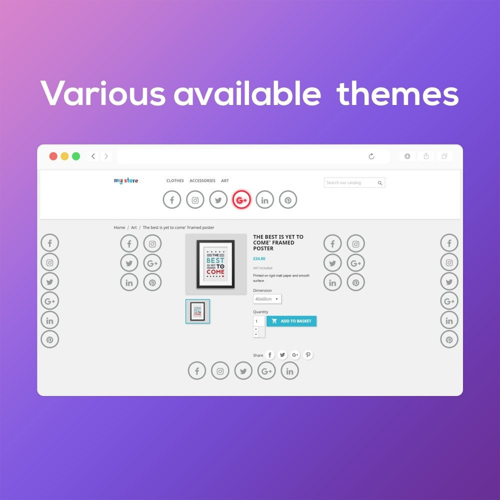 module - Widgets sozialer Netzwerke - Smart Social Media Buttons (Icons), Multi-themes - 8