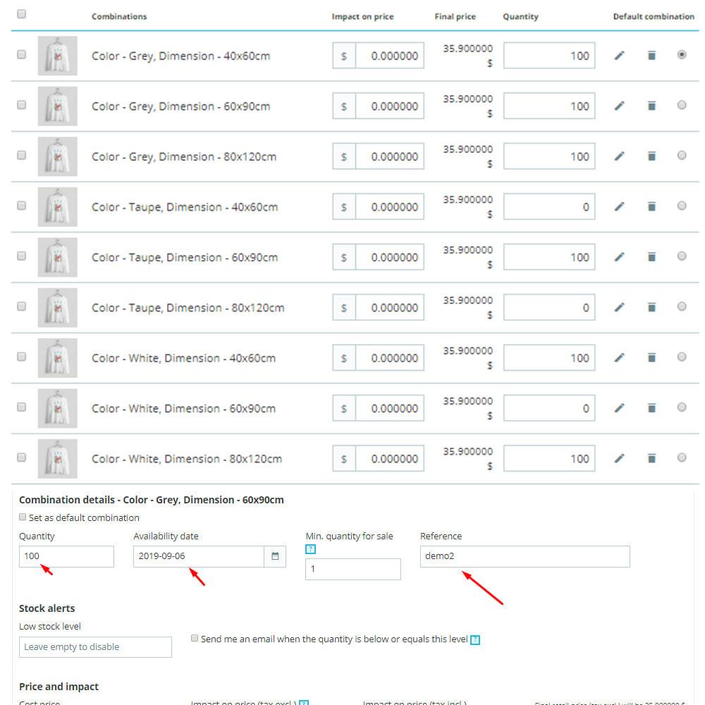 module - Combinations & Product Customization - Matrix Combinations - 3