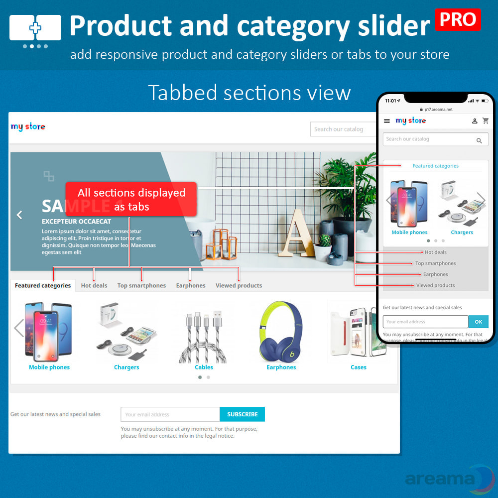 module - Information supplémentaire & Onglet produit - Product slider PRO + categories + related products - 3