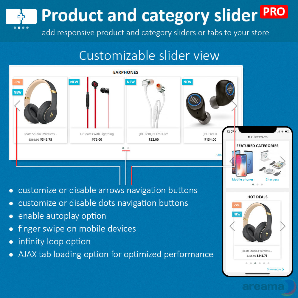 module - Information supplémentaire & Onglet produit - Product slider PRO + categories + related products - 5