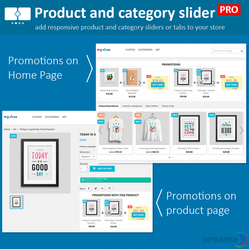 module - Information supplémentaire & Onglet produit - Product slider PRO + categories + related products - 10