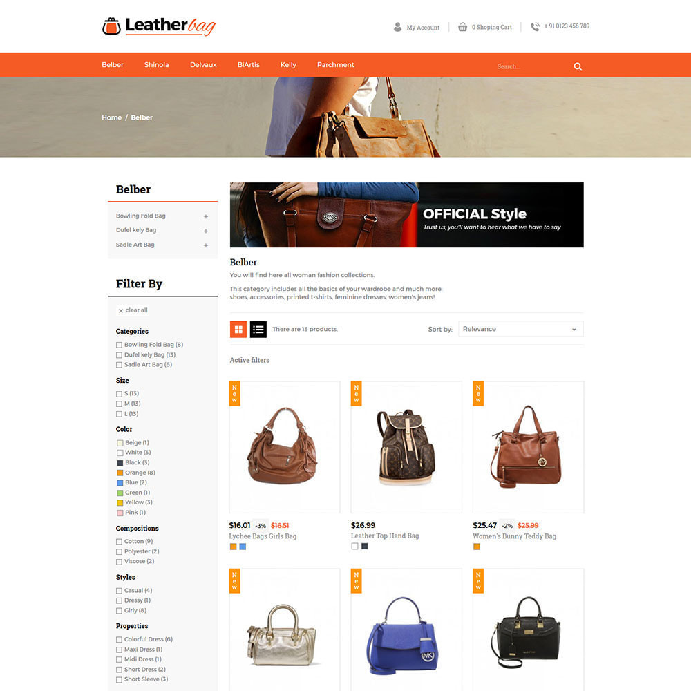 theme - Fashion & Shoes - Leather Bag - Apparels  Fashion Store - 3