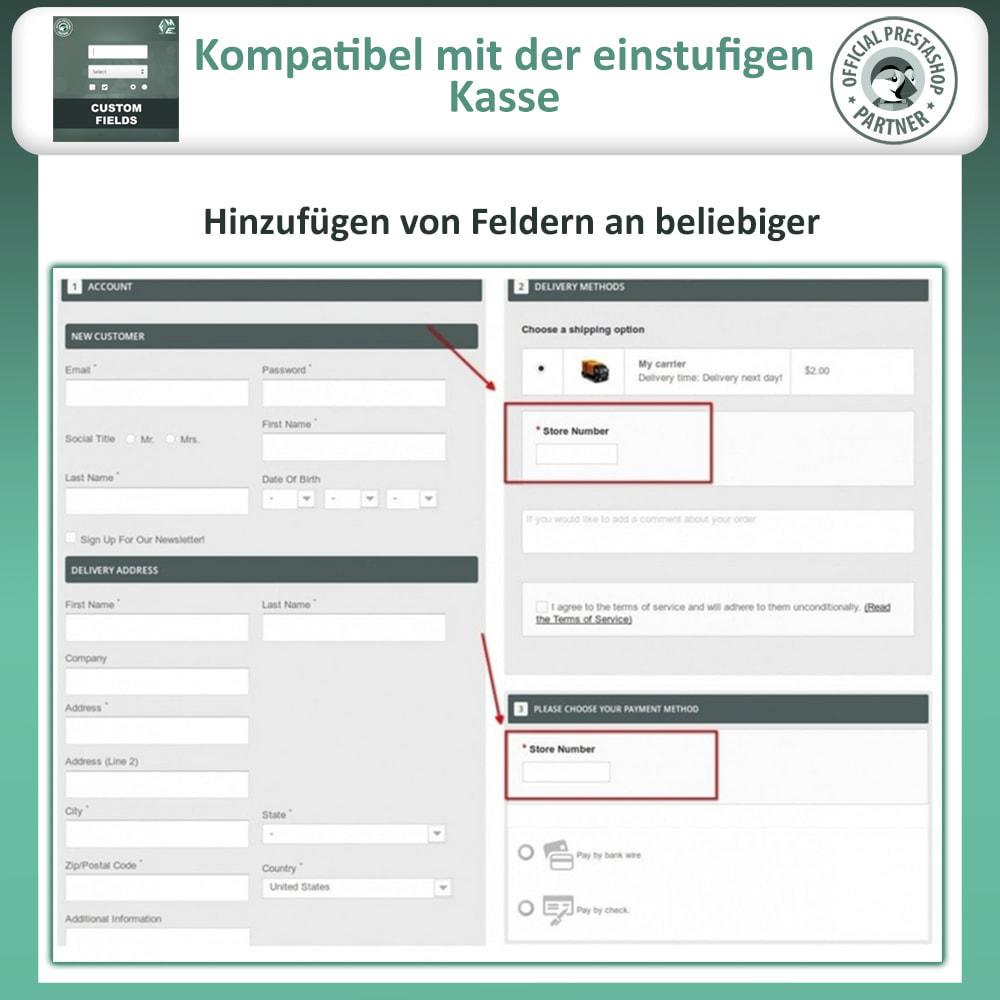 module - Anmeldung und Bestellvorgang - Benutzerdefinierte Felder, Fügen Sie Feld zur Checkout - 3