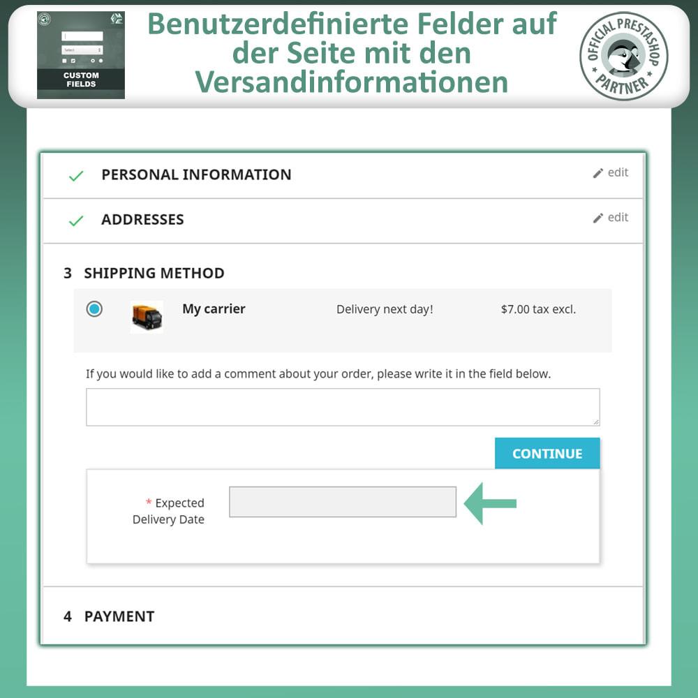 module - Anmeldung und Bestellvorgang - Benutzerdefinierte Felder, Fügen Sie Feld zur Checkout - 6