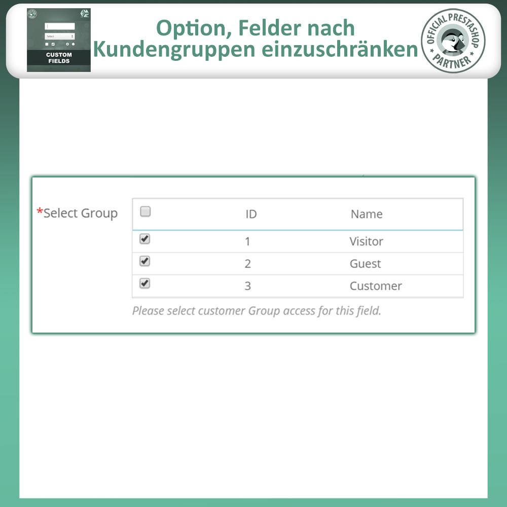 module - Anmeldung und Bestellvorgang - Benutzerdefinierte Felder, Fügen Sie Feld zur Checkout - 13