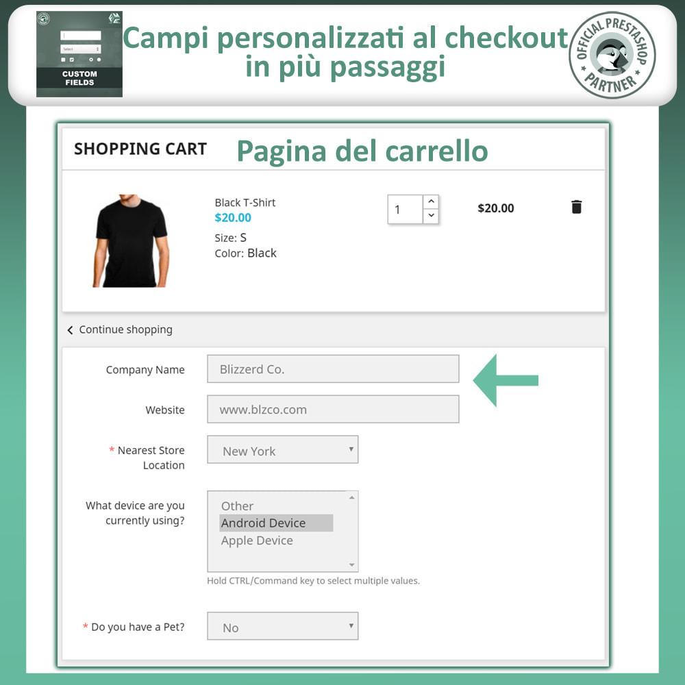 module - Iscrizione e Processo di ordinazione - Campi Personalizzati,  Aggiungi Campo alla di Checkout - 4