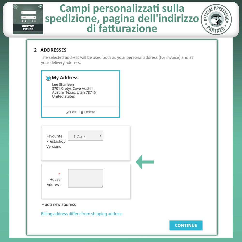 module - Iscrizione e Processo di ordinazione - Campi Personalizzati,  Aggiungi Campo alla di Checkout - 5