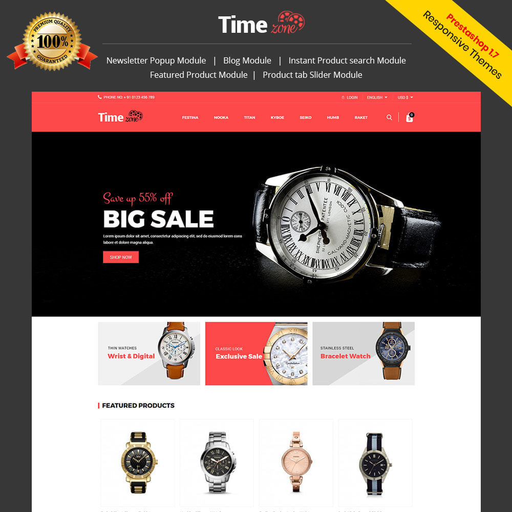 theme - Fashion & Shoes - Luxury Watch  - Timezone Accessories Store - 1