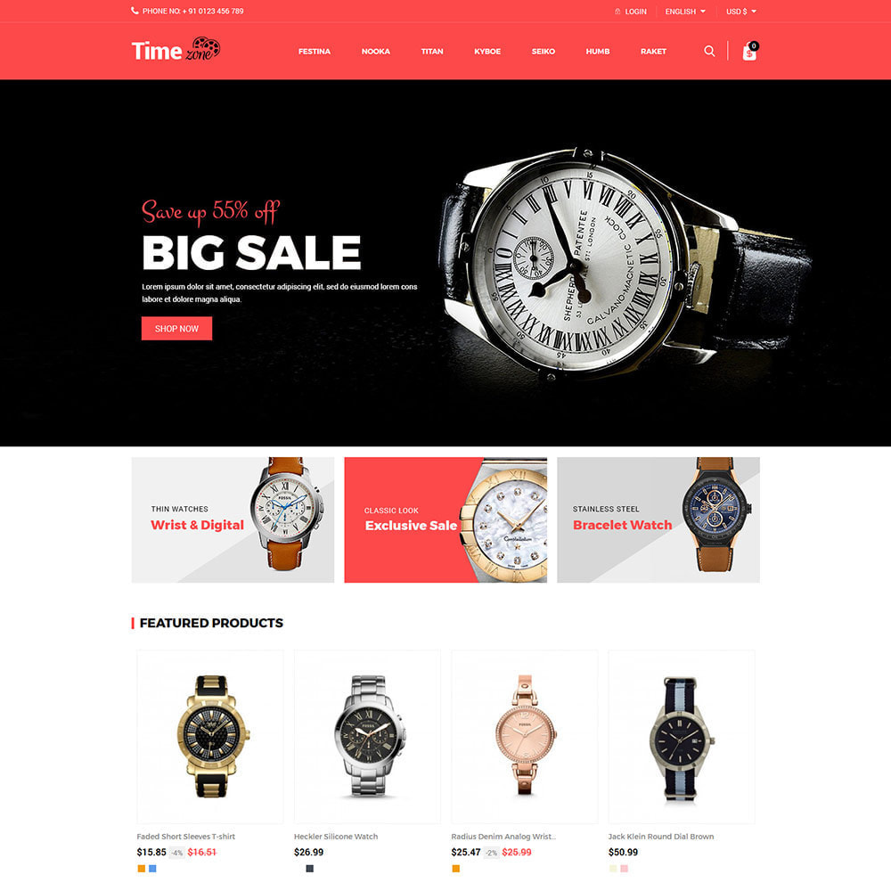 theme - Fashion & Shoes - Luxury Watch  - Timezone Accessories Store - 2