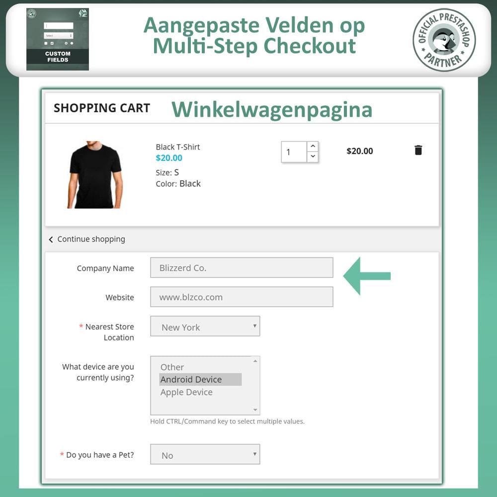 module - Registratie en Proces van bestellingen - Aangepaste Velden: Voeg extra veld toe aan uitchecken - 4