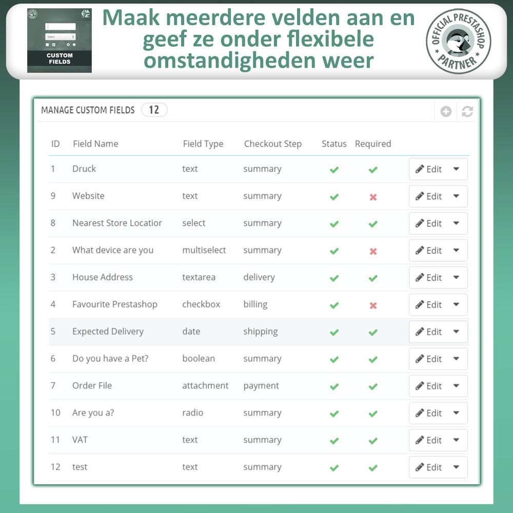 module - Registratie en Proces van bestellingen - Aangepaste Velden: Voeg extra veld toe aan uitchecken - 9