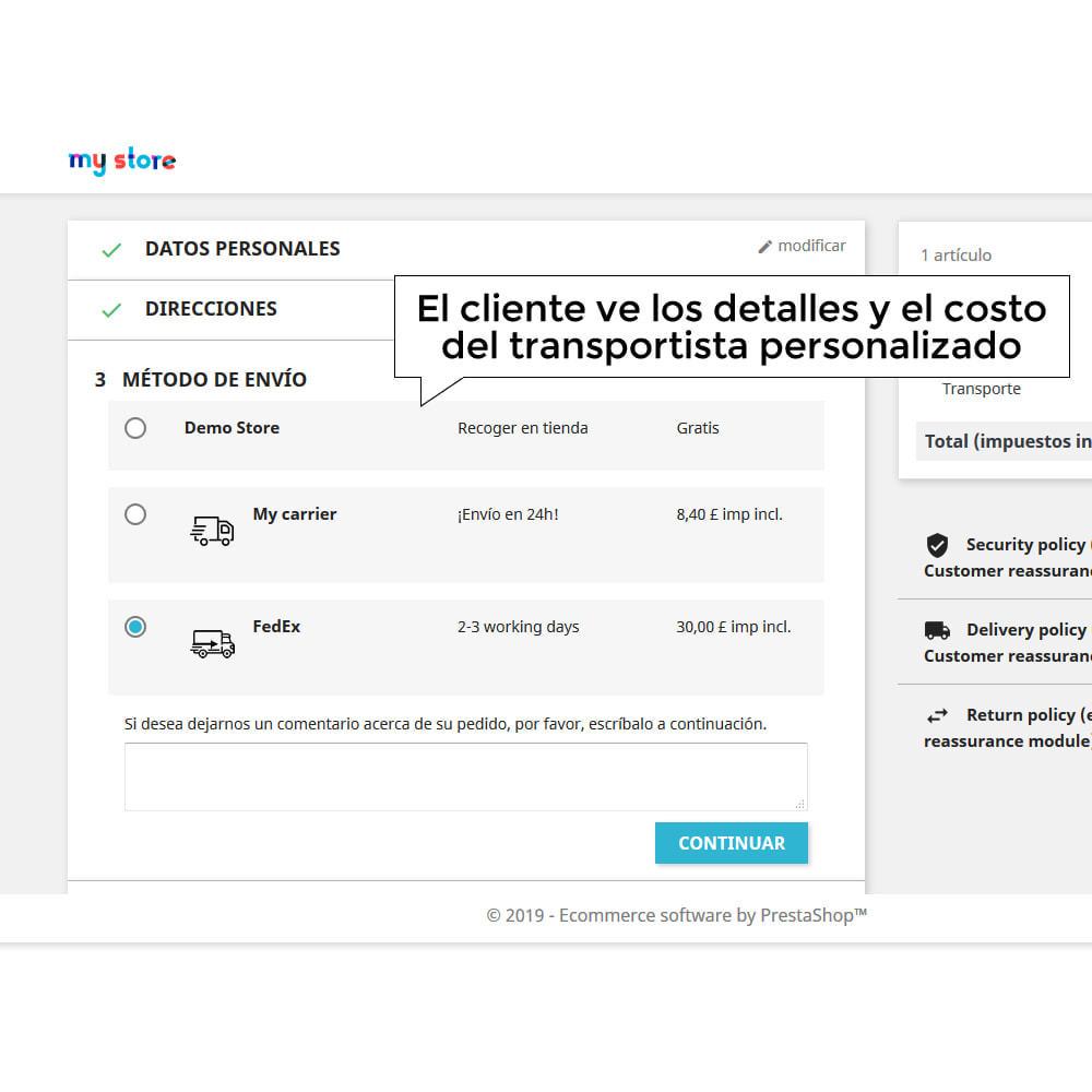 module - Gastos de transporte - Cotización de envío - Tarifa de envío personalizada - 9