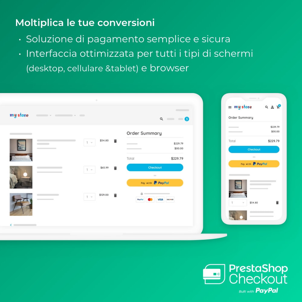 module - Pagamento con Carta di Credito o Wallet - PrestaShop Checkout built with PayPal - 1