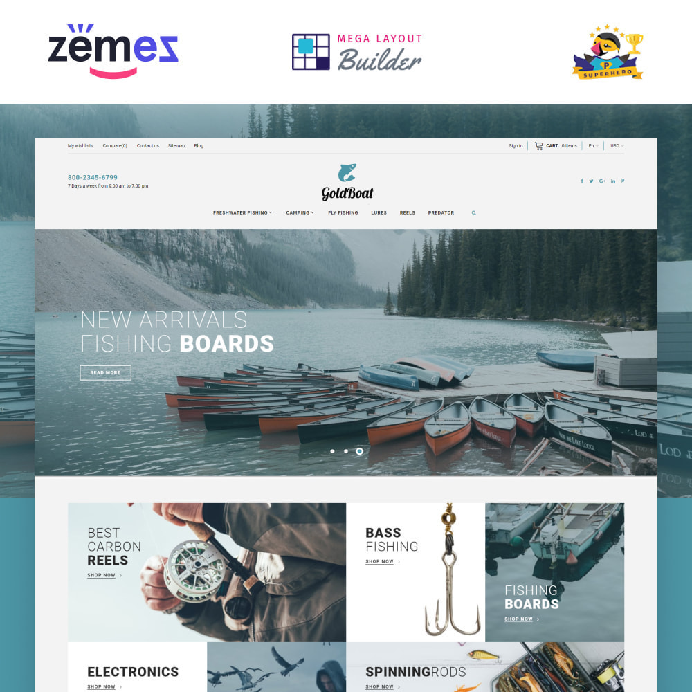theme - Sports, Activities & Travel - GoldBoat - Fishing Shop - 1