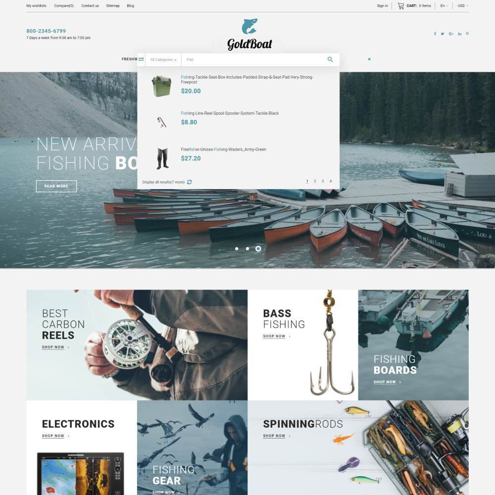 theme - Sports, Activities & Travel - GoldBoat - Fishing Shop - 2