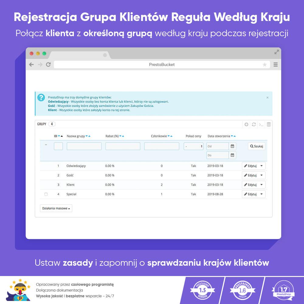 module - Zarządzanie klientami - Rejestracja Grupa Klientów Reguła Według Kraju - 1