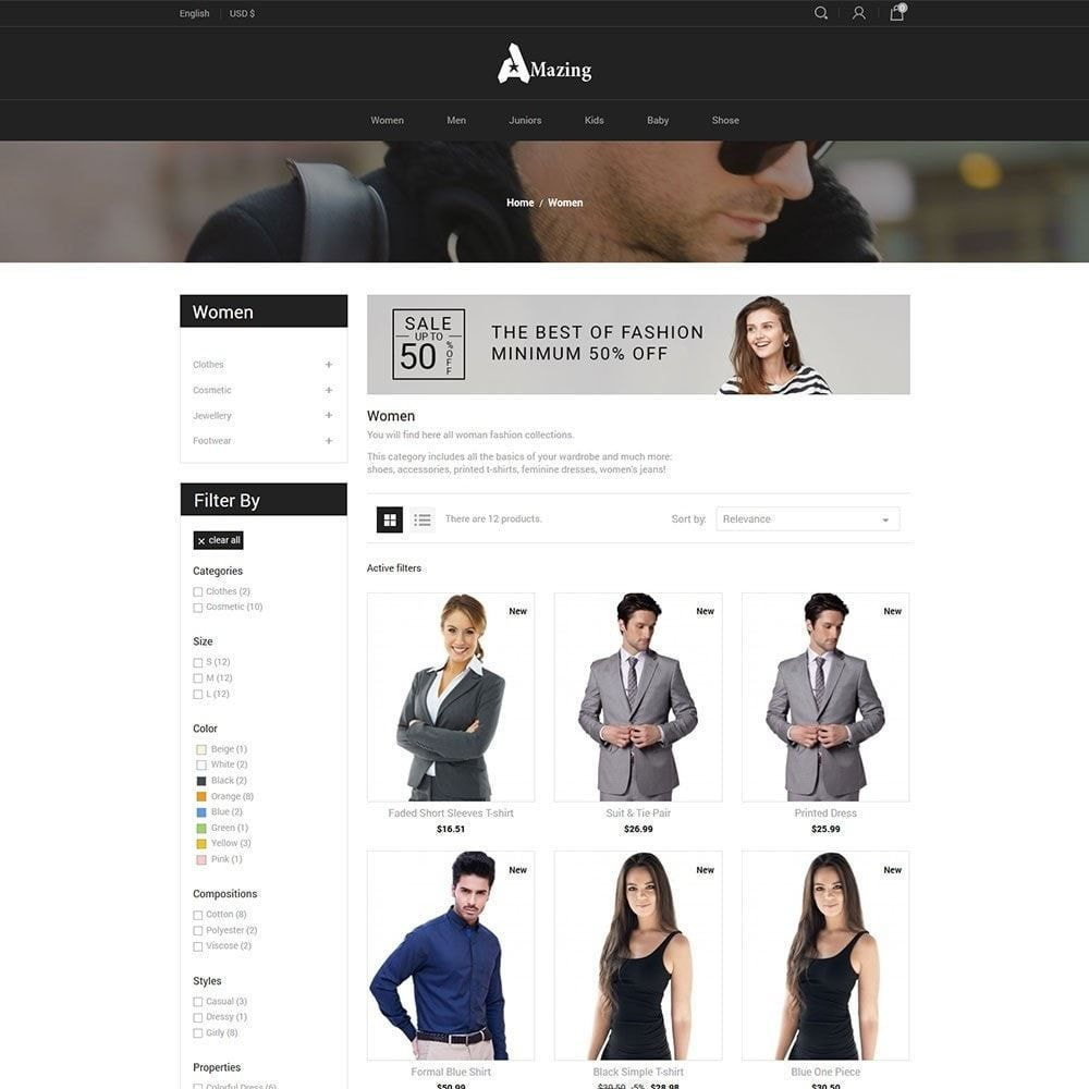 theme - Mode & Schuhe - Amazing Black - Fashion Dark Store - 3