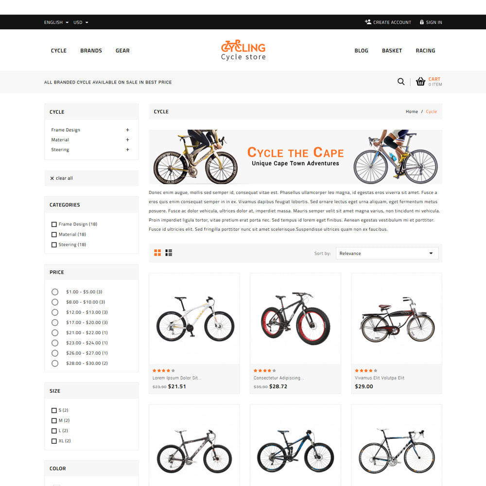 theme - Samochody - Cycling Bicycle store - 3