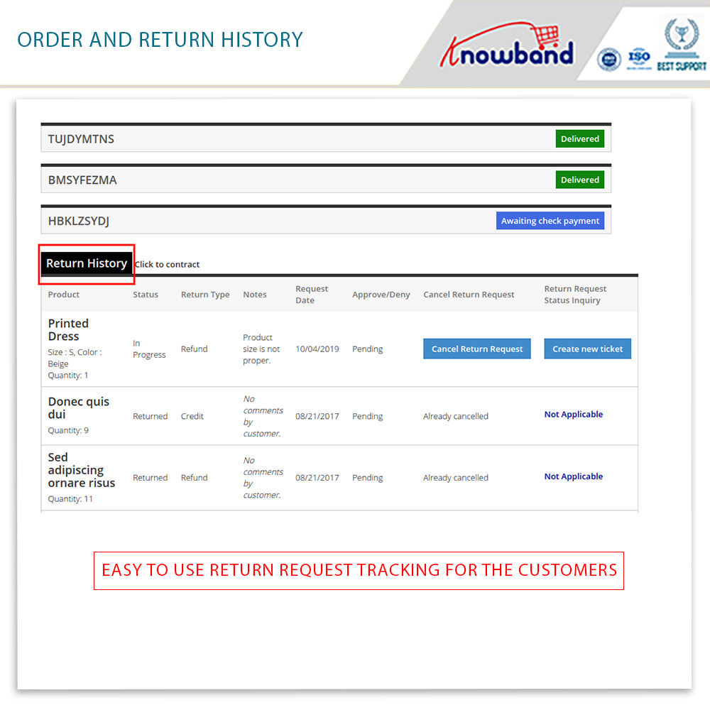 module - Customer Service - Knowband - Order Return Manager(Return Slip & Barcode) - 5