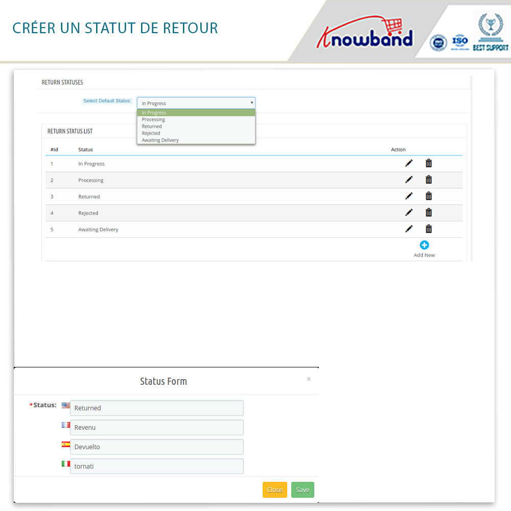 module - Service Client - Knowband - Gestionnaire de Retour des Commandes - 6