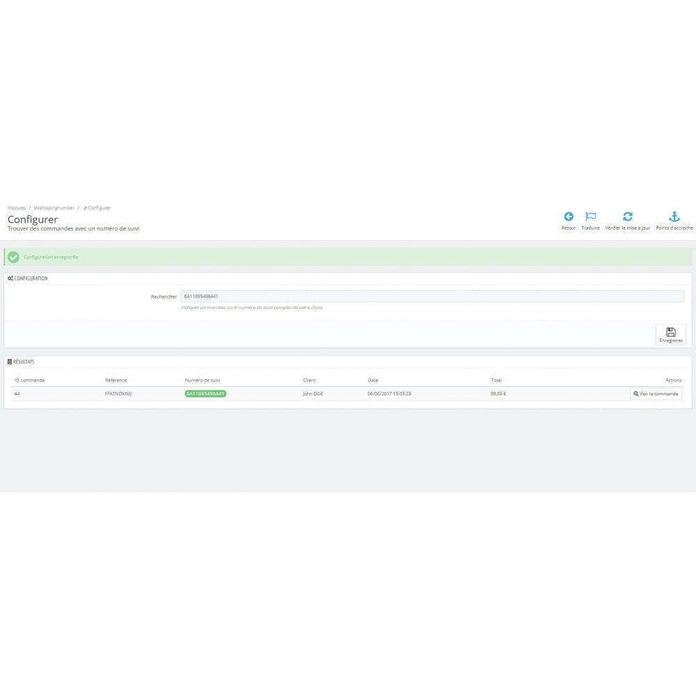 module - Transporteurs - Trouver une commande avec un numéro de suivi - 3