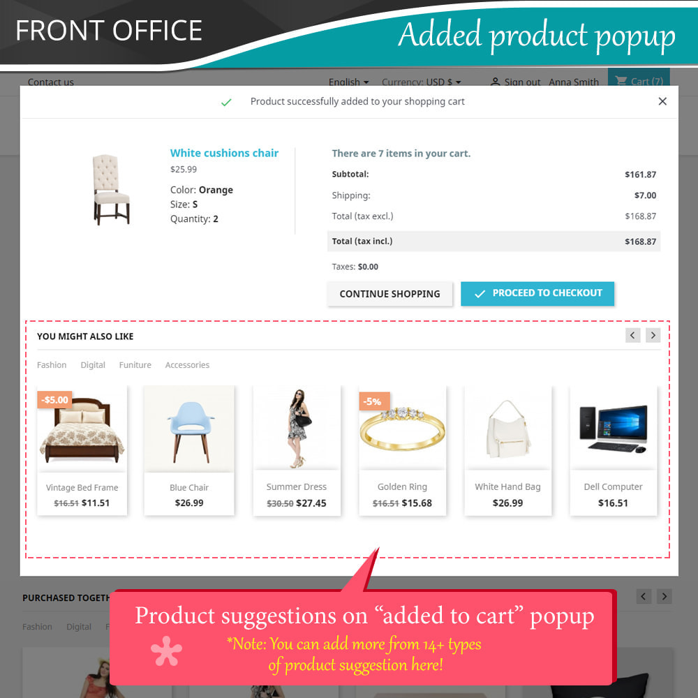 module - Kruisverkoop & Pakketaanbiedingen - Cross Selling Pro - Upsell - Shopping cart & all pages - 4