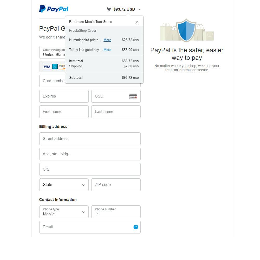 module - Pago con Tarjeta o Carteras digitales - PayPal Standard - 4