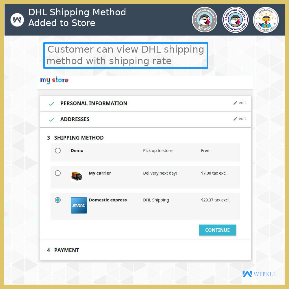 module - Vervoerder - DHL Shipping - API based delivery method - 3