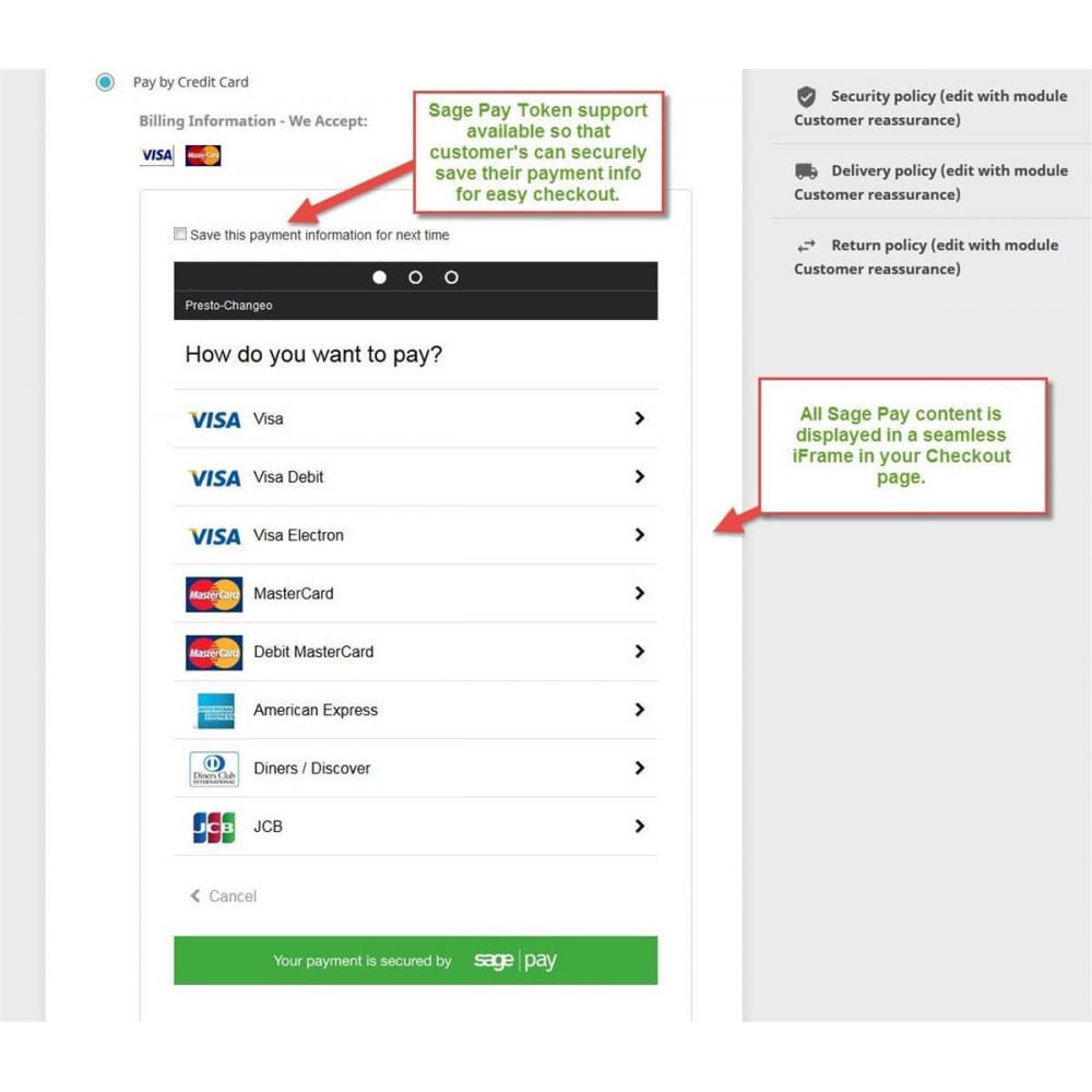 module - Оплата банковской картой или с помощью электронного кошелька - Sage Pay (Payment +Token System) - 1