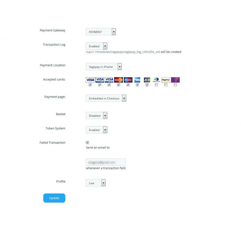module - Оплата банковской картой или с помощью электронного кошелька - Sage Pay (Payment +Token System) - 3