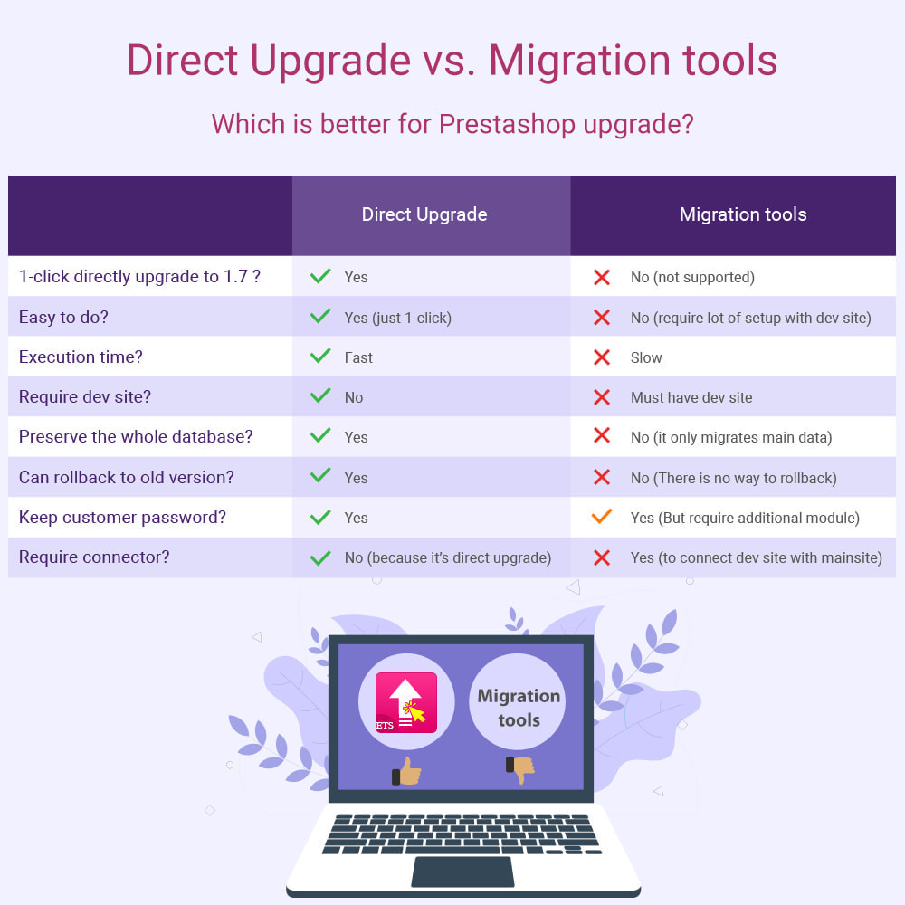module - Datenmigration & Backup - 1-Click Direct Upgrade - 2