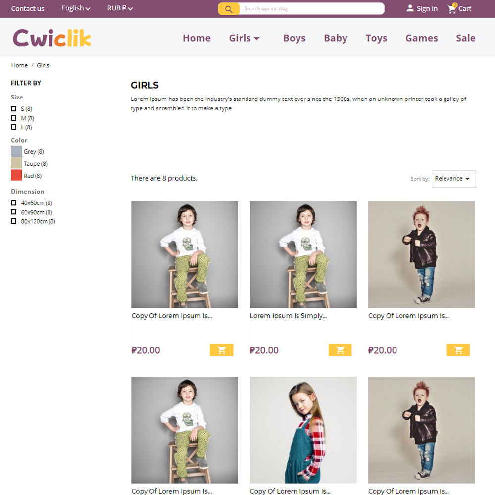 theme - Kids & Toys - Cwiclik - online store of children's clothing and toys - 5