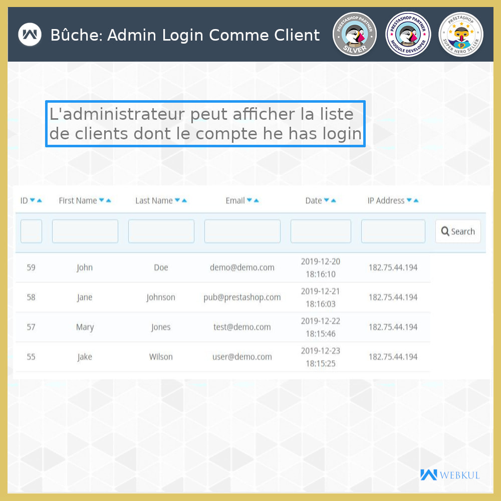 module - Service Client - Connexion administrateur en tant que client - 2