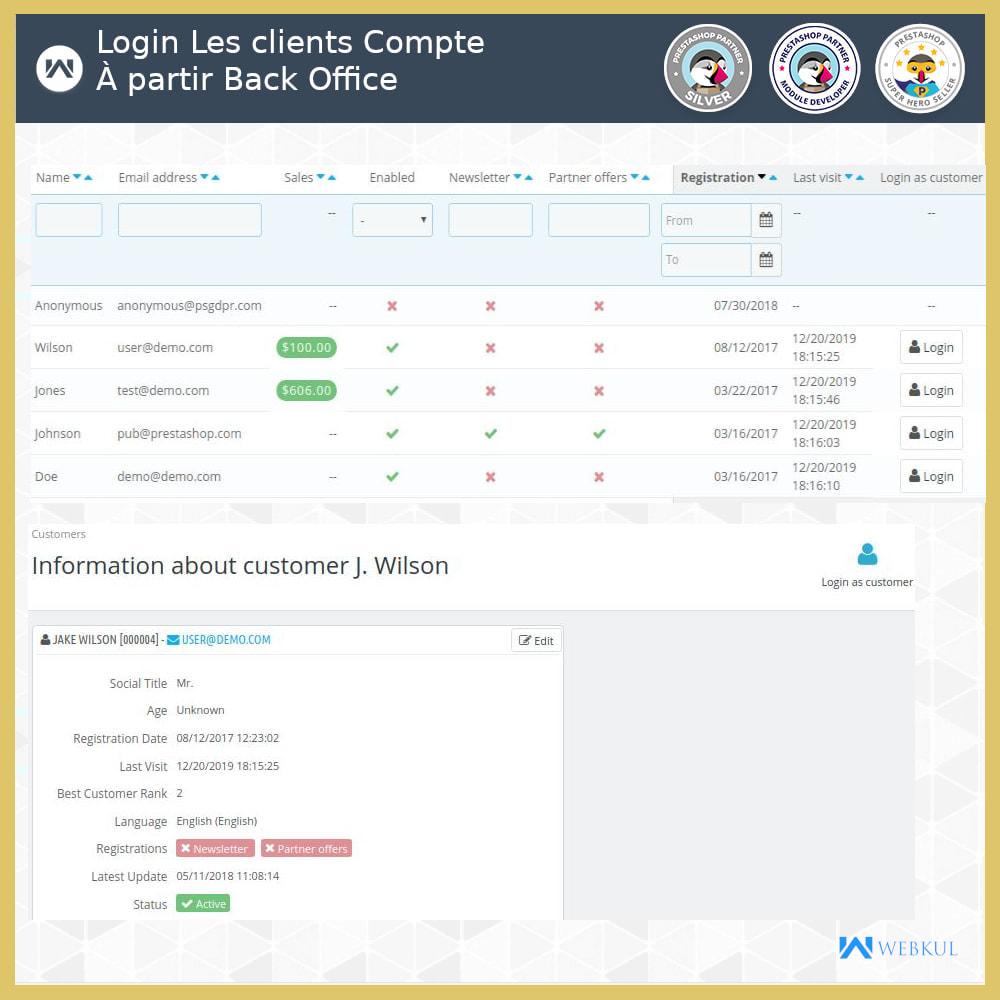 module - Service Client - Connexion administrateur en tant que client - 3