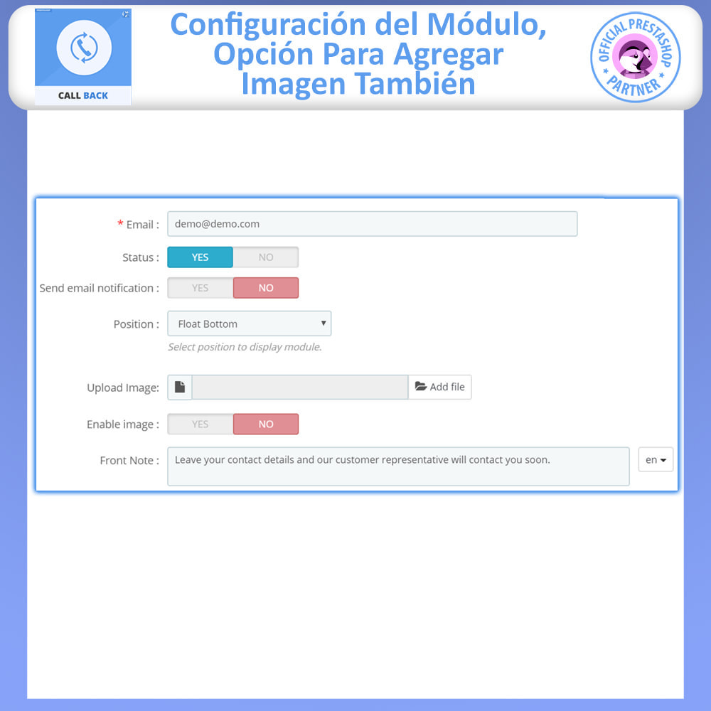 module - Asistencia & Chat online - Call Back - Fixed & Floating Call Back Form - 5