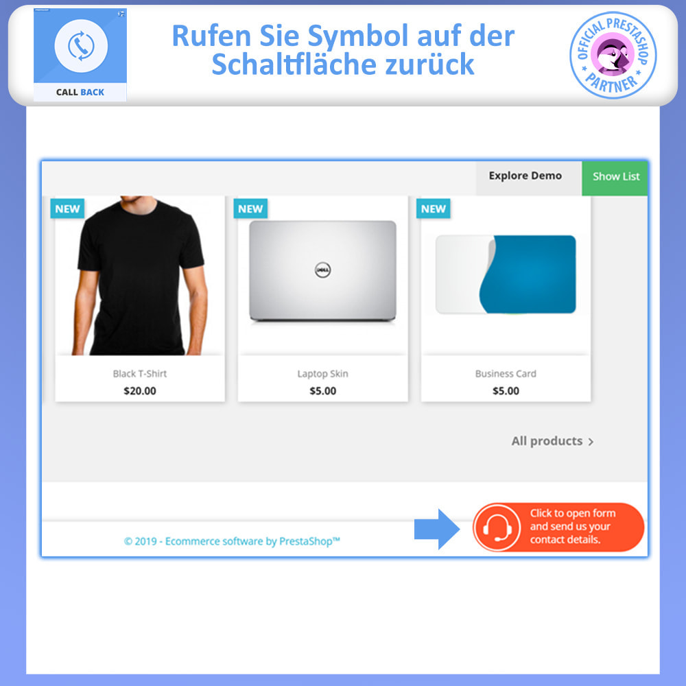 module - Support & Online-Chat - Rückruf – Fixiertes & Schwebendes Rückruf-Formular - 2