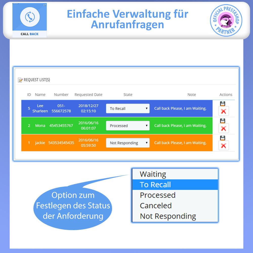 module - Support & Online-Chat - Rückruf – Fixiertes & Schwebendes Rückruf-Formular - 4