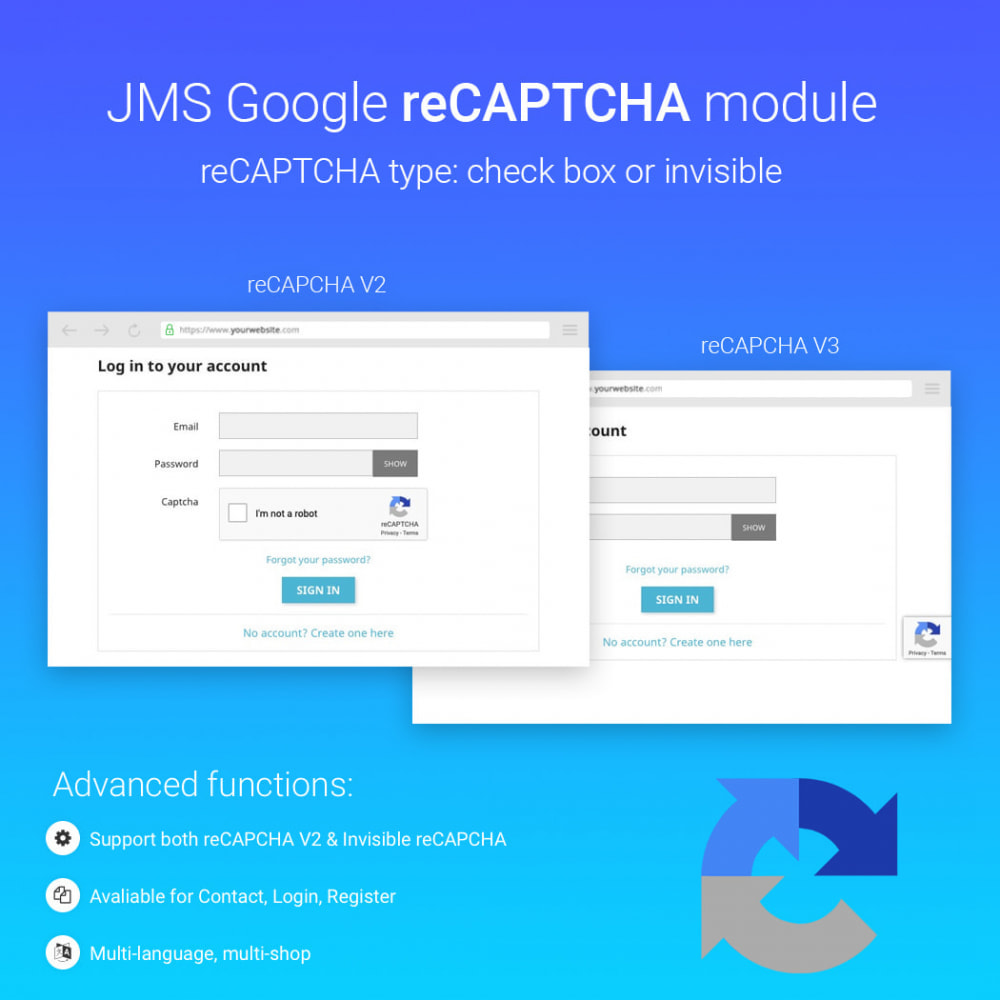 module - Sicherheit & Berechtigungen - JMS reCAPTCHA - Anti spam with invisible reCAPTCHA - 1