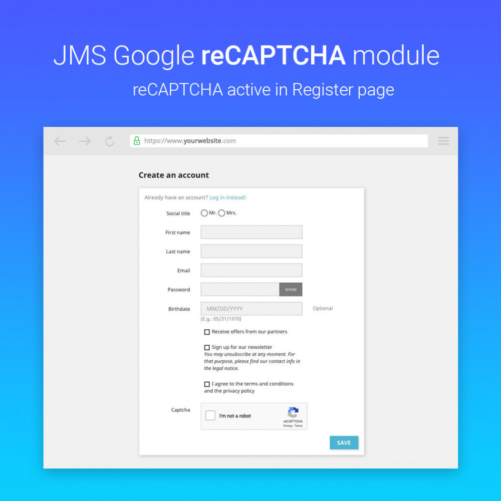module - Sicherheit & Berechtigungen - JMS reCAPTCHA - Anti spam with invisible reCAPTCHA - 3