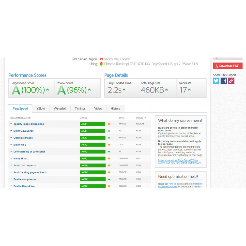module - Website performantie - Google PageSpeed Insight - 5