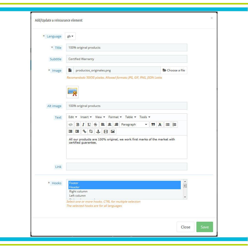 module - Personnalisation de Page - Ajouter de multiples éléments de réassurance animés - 5