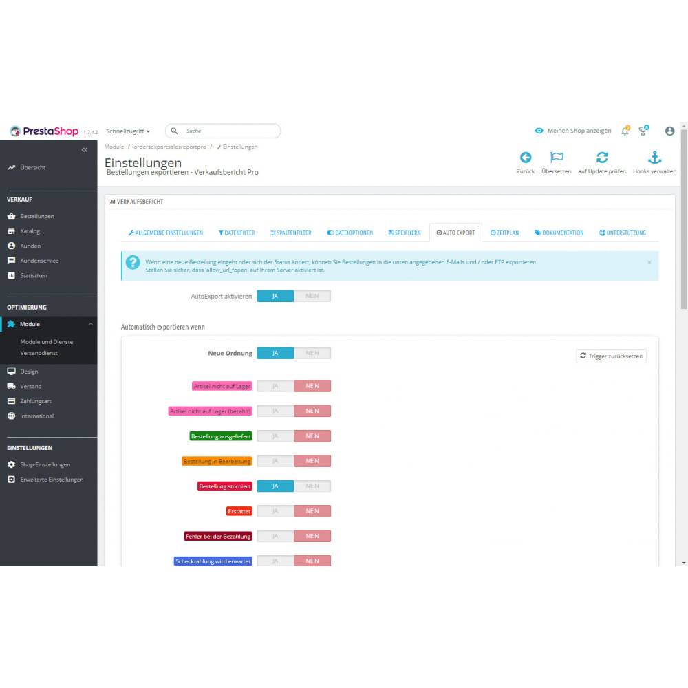 module - Daten Im-&Export - Verkaufsbericht Pro - Export von Bestellungen - 9
