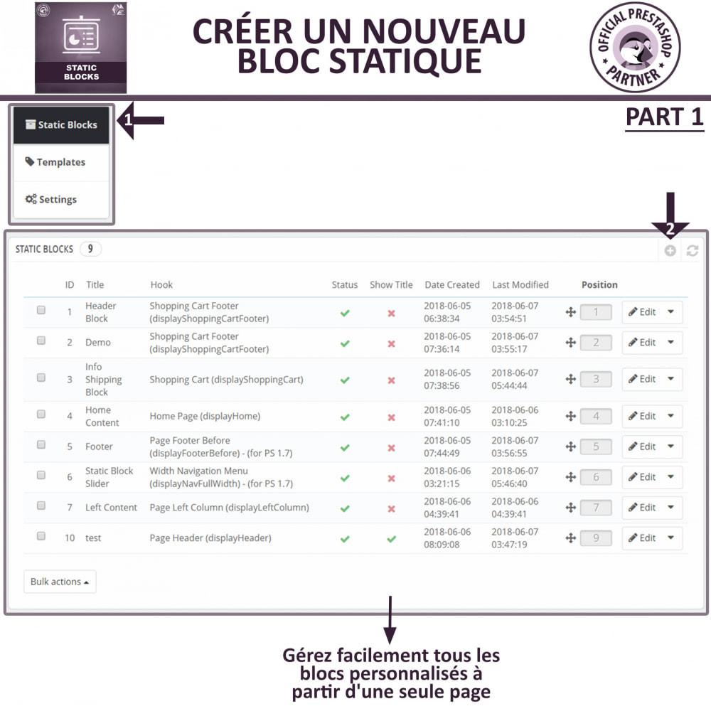module - Blocs, Onglets & Bannières - Blocs Statiques - Ajouter HTML, Texte, Blocs de Média - 7