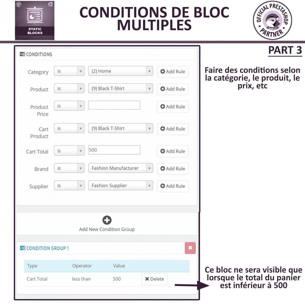 module - Blocs, Onglets & Bannières - Blocs Statiques - Ajouter HTML, Texte, Blocs de Média - 8