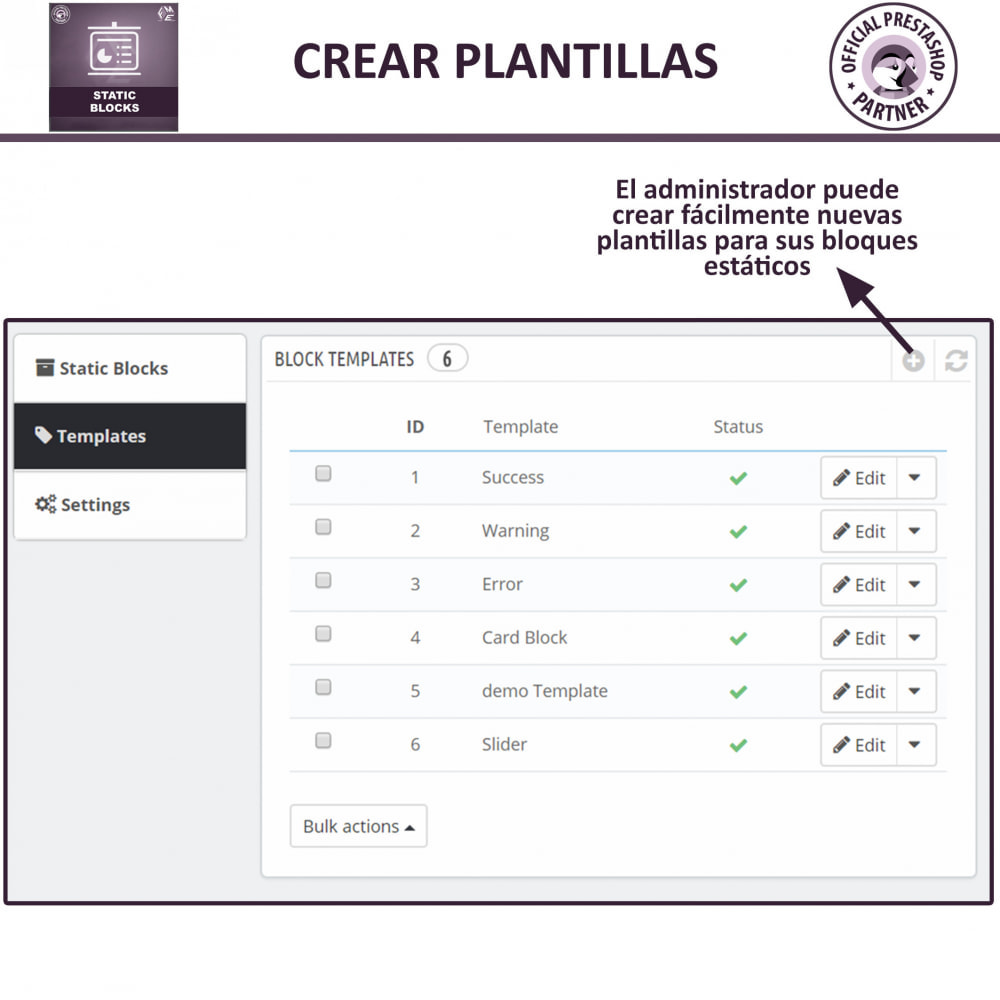 module - Bloques, Pestañas y Banners - Bloques estáticos, Añadir HTML, texto, bloques de medio - 12