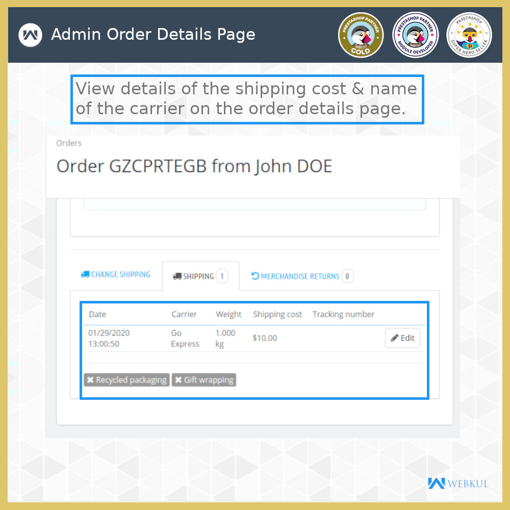 module - Shipping Carriers - Order Carrier Change - 5