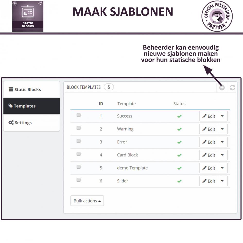 module - Blokken, Tabbladen & Banners - Statische Blok - HTML, Tekst- en Multimedia Blokken - 8