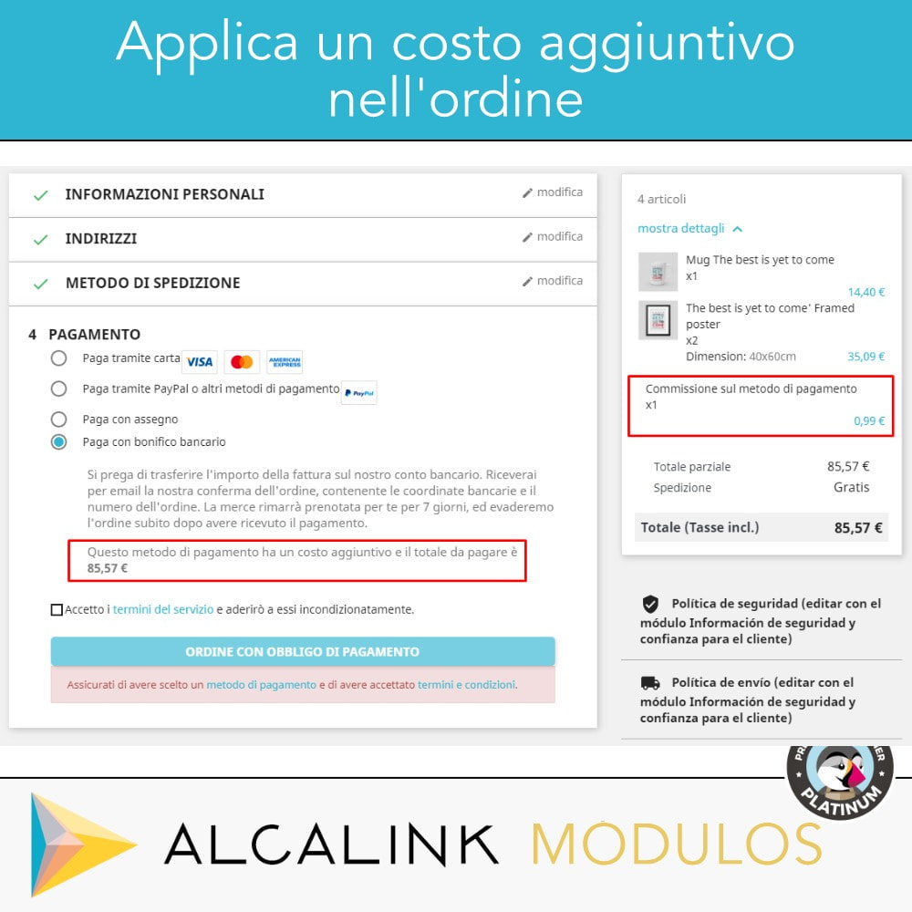 module - Pagamento con Carta di Credito o Wallet - Pagamento con supplemento - Compatibile PS Checkout - 4