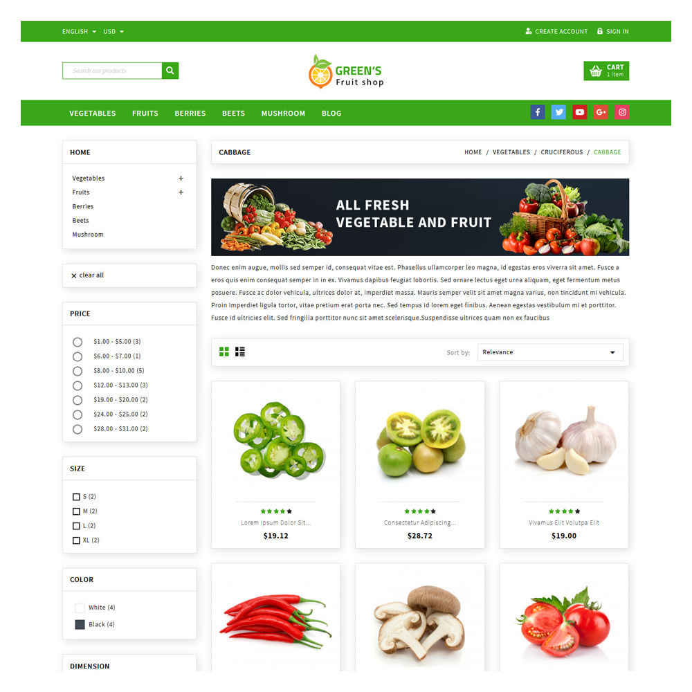 theme - Food & Restaurant - Green Vegetable & Fruits Shop - 3